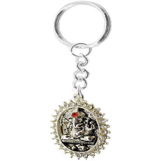 Faynci Lord Ganesh Ganpati Elephant Hindu God with attractive stone High Quality Metal Key Chain for Gifting, Good Luck and Protection