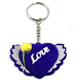 Faynci Love Blue Velvet Love Design Key Chain Gifting for Valentine Day/Birthday /Friendship