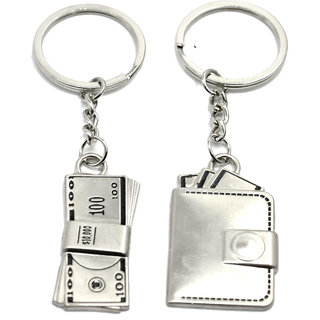 Faynci High Quality Metal Wallet with Money Couple Key Chain for Gifting Valentine Day/Birthday/Friendship Day
