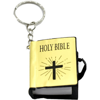 Faynci Mini Holy Bible Religious Key Chain in Golden with Actual Bible Text Pages