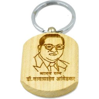Faynci Dr. Babasaheb Ambedkar with Namo buddhay double sided wooden Key Chain