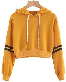 Raabta Fashion Mustard Stripe Pullover Hooded Sweatshirt For Women