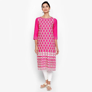 f7e86881940 Buy NAARI Women s Pink Embroidered Rayon Stitched Kurti Online ...