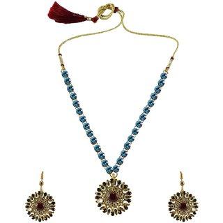 Firozi Stone Stud-Gold Platted Brass Pendant Set