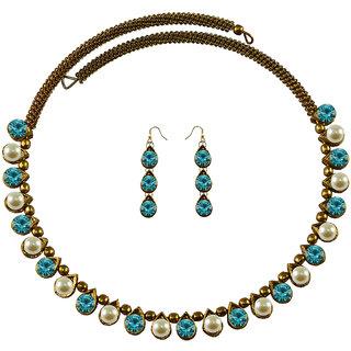 Multi Stone Stud-Gold Platted Brass Hasli (Necklace)
