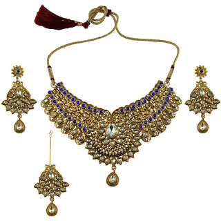 Golden Stone Stud-Gold Platted Brass Necklace set