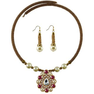 Golden Stone Stud-Gold Platted Brass Hasli (Necklace)
