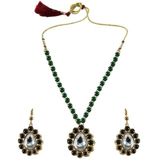 Green Stone Stud-Gold Platted Brass Pendant Set