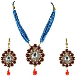 Rani Stone Stud-Gold Platted Brass Pendant Set