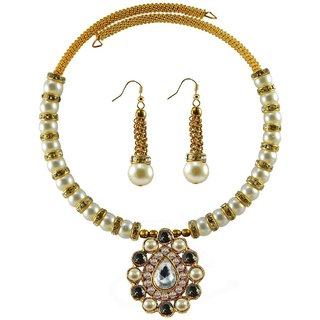 Golden Stone Stud-Gold Platted Brass Hasli (Necklace)