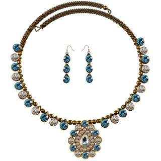 Multi Stone Stud-Gold Platted Brass Hasli (Necklace)
