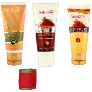 Set of 1 Gold keasr face wash  1 Gold exfloiating body and face scrub  1 Advance perfect kesar fairness cream  1 Head band