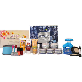 Set of 1 Diamond radiance facial kit + 1 Skin whitening facial kit + 1 Gold radiance face and body scrub + 1 Advance perfect kesar fairness day and night cream + 1 Sunscreen SPF30 cram + 2 Lipsticks+ 2 Nail paint +1 Kajal + 1 Compact + 1 Mini face an