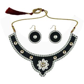 Black Kundun Stud Metal Necklace set