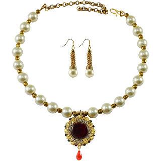 White Moti Stud-Gold Platted Brass Hasli (Necklace)