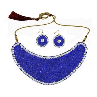 Blue Kundun Stud Metal Necklace set