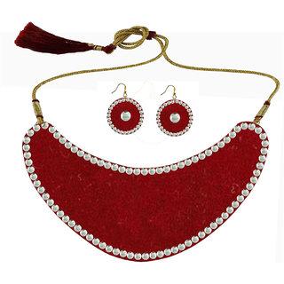 Maroon Kundun Stud Metal Necklace set
