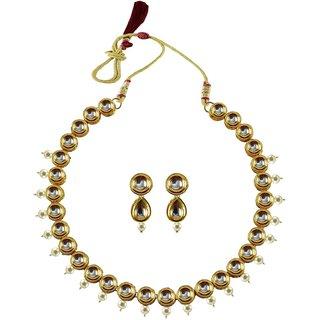 Golden Kundun Stud-Gold Platted Brass Necklace set
