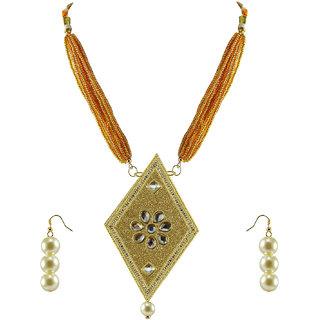 Multi Stone Stud-Gold Platted Brass Pendant Set