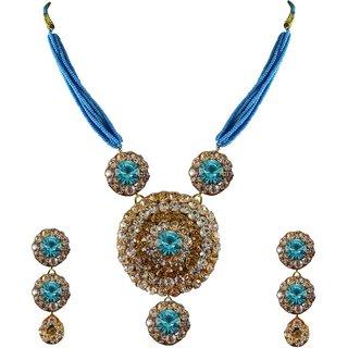 Multi Stone Stud-Pure Lakh Brass Pendant Set
