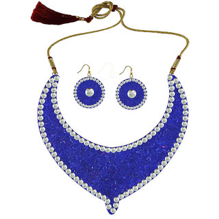 Blue Kundun Stud Metal Necklace set