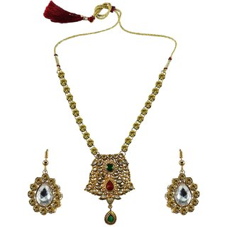 Multi Stone Stud-Gold Platted Brass Necklace set