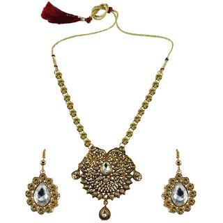 Multi Stone Stud-Gold Platted Brass Necklace set