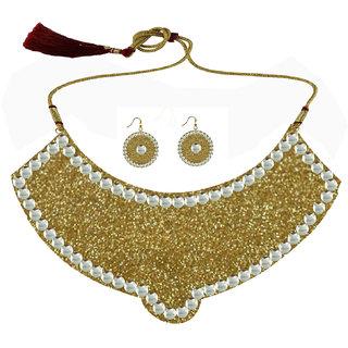 Golden Kundun Stud Metal Necklace set