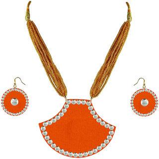Orange Kundun Stud Metal Pendant Set