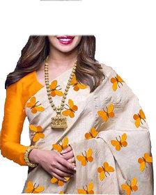 Stylezone Zarana Silk Embroidered Saree With Blouse-BF5061yellow