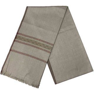 Varun Cloth House Mens Kashmiri Woollen Embellished Bordered Shawl/Lohi (vch4848 Grey Free Size)