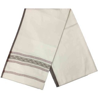 Varun Cloth House Mens Kashmiri Woollen Embellished Bordered Shawl/Lohi (vch4851 Off-White Free Size)