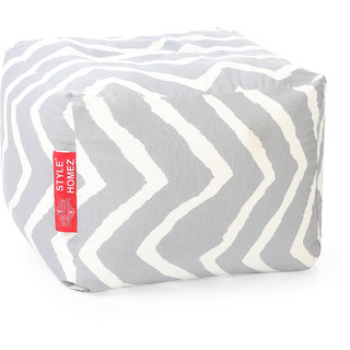 Style Homez Square Cotton Canvas Stripes Printed Bean Bag Ottoman Stool Large Cover Only, Grey Color