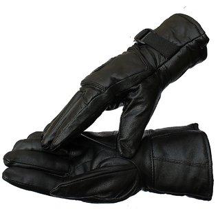 Black Warm Leather Mix Gloves for Men's Boys - Black