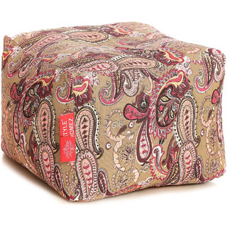 Style Homez Square Cotton Canvas Paisley Printed Bean Bag Ottoman Stool Large Cover Only, Multi Color