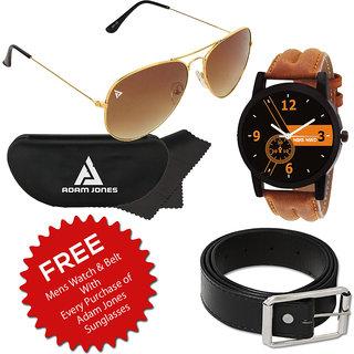 Adam Jones Classic Brown Gold Aviator with Free Wake Wood Watch + Belt