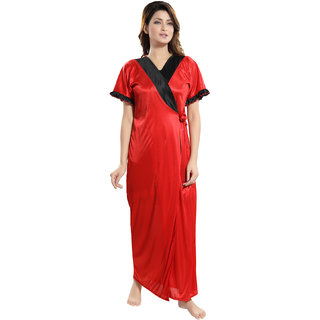 Be You Red Solid Women Night Robe