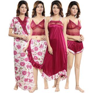 Be You Magenta Floral Women Nightwear Set / 5 Pieces Nighty Set