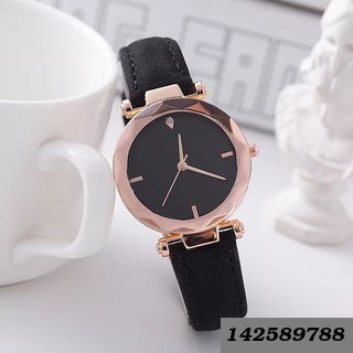 Women's Rose Gold Round Dial PU Black Strap Watch