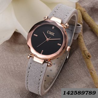 Rose Gold Round Dial Pu Strap Women Watch