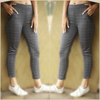 Seller Imported Grey Color Check's Stretchable Pants / Jeggings /Gym Wear /Yoga Wear /Casual Wear /Sport's Wear