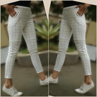 Seller Imported White Color Check's Stretchable Pants / Jeggings /Gym Wear /Yoga Wear /Casual Wear /Sport's Wear