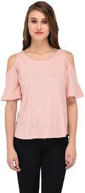 Purys Casual Half Sleeve Solid Women's Pink Top