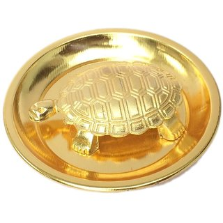 Vastu Feng Shui Metal Turtle Tortoise Plate for Good Luck, 4-inch (Gold)