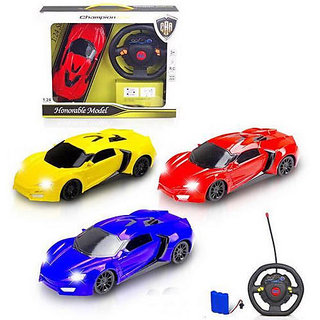 SHRIBOSSJI HONORABLE REMOTE CONTROL CAR WITH ROUND STEERING REMOTE WITH BEST QUALITY FOR KIDS/CHILDREN.(COLOR MAY VARY)