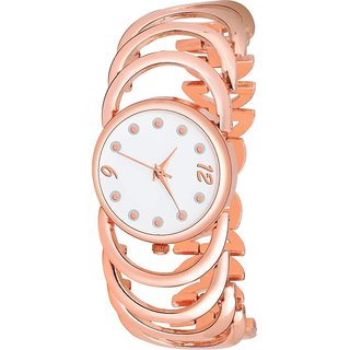 Women Rose Gold - Copper metal strap diamond studded fancy and attractive Watch - For Women
