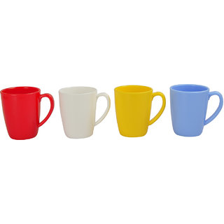 Life Plast Polypropylene Oval Microwave Safe Tea Coffee Mugs,300 Ml,Set Of  4  SKU L-286-4-RD-BROG-SM