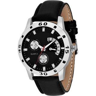 Avio Full Blk Stylish Chronograph Pattern Black Leather Strap Watch - For Men