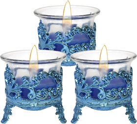 PeepalComm Tea Light Candle Blue Crown Pack of 3 with Tea Lights for Diwali Home Decoration
