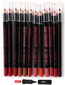 MN Super Matte High Precision Lip Pencil Pack of 12 With Adbeni Kajal Worth Rs.125/